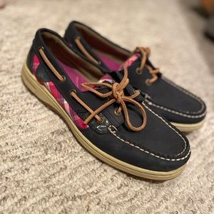 Navy Blue and pink Sperry's